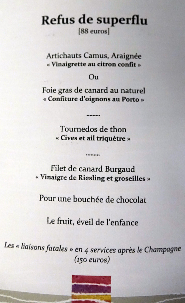 "Menu ""Refus de superflus"" à 88 € 00"