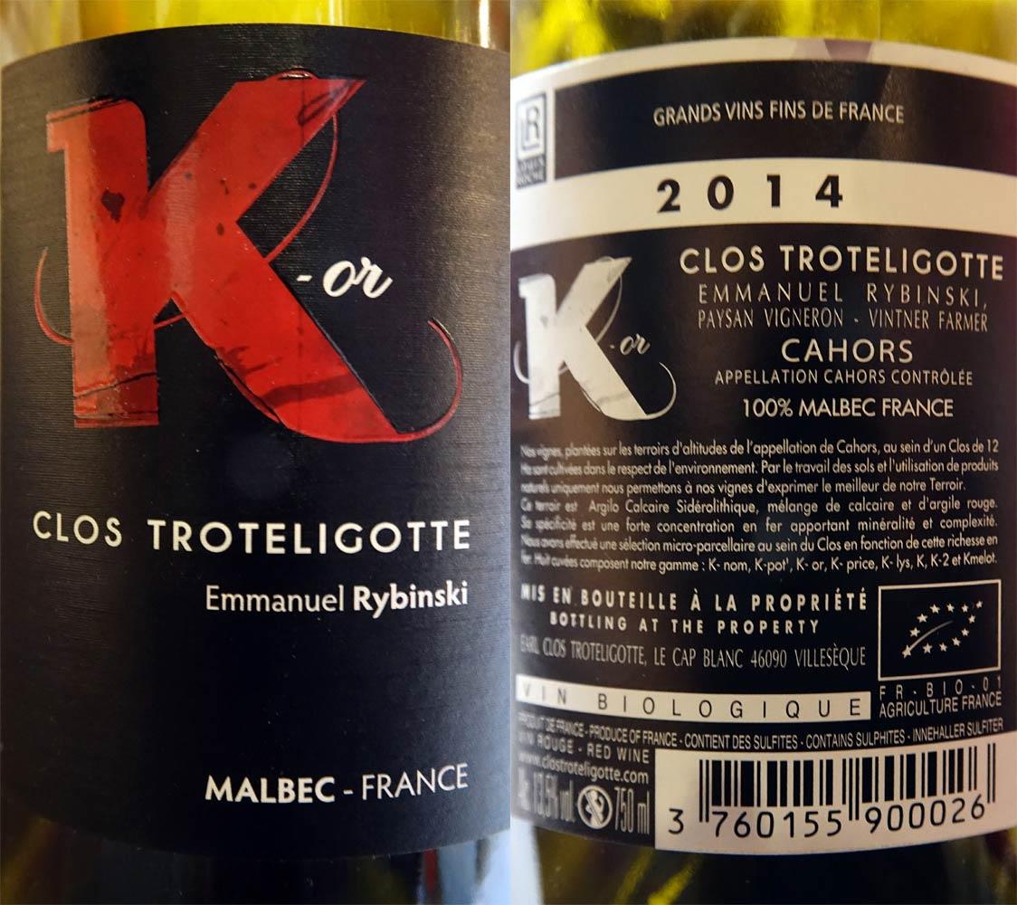 """Cahors 2014 """"K-or"""" Clos Troteligotte sur les Coquillettes, truffe noire, jambon blanc, comté"""