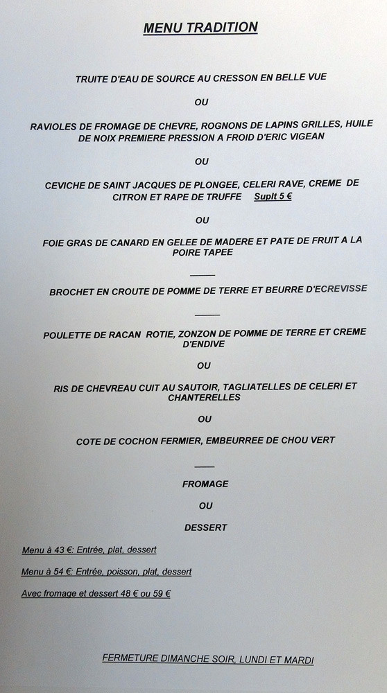 "Le menu ""Tradition"""