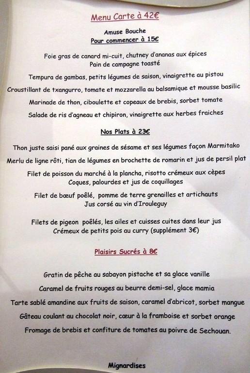 Premiers menus
