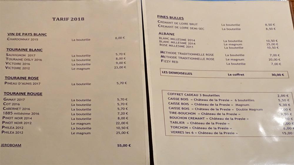 Le tarif 2018 applicable en 2019