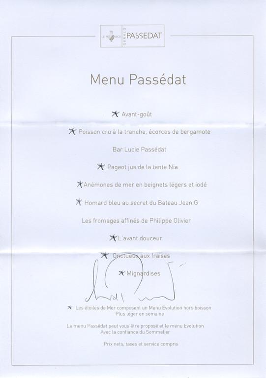 """Le menu """"Passédat"""""""
