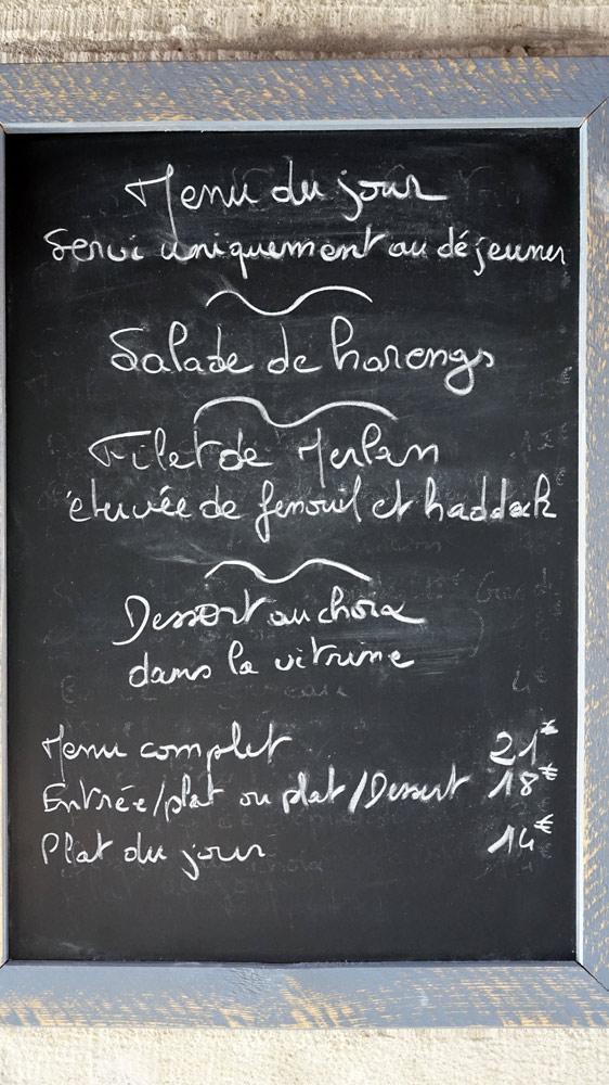 Le menu du jour (affichage extérieur)