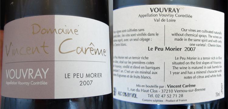 Vouvray 2007 de Vincent Carême