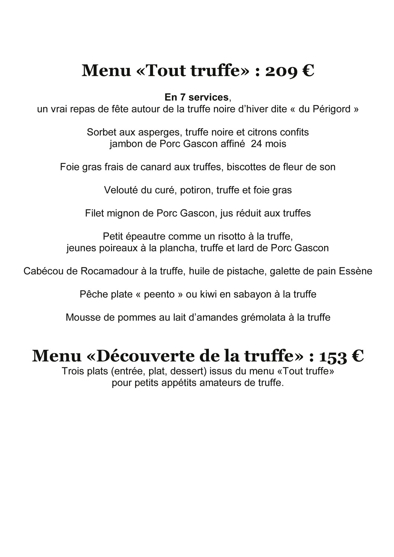 Menu truffe Saint-Géry