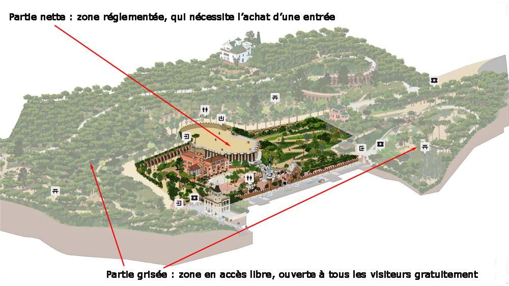 Le plan du Parc Güell - Crédit photo : https://parkguell.barcelona