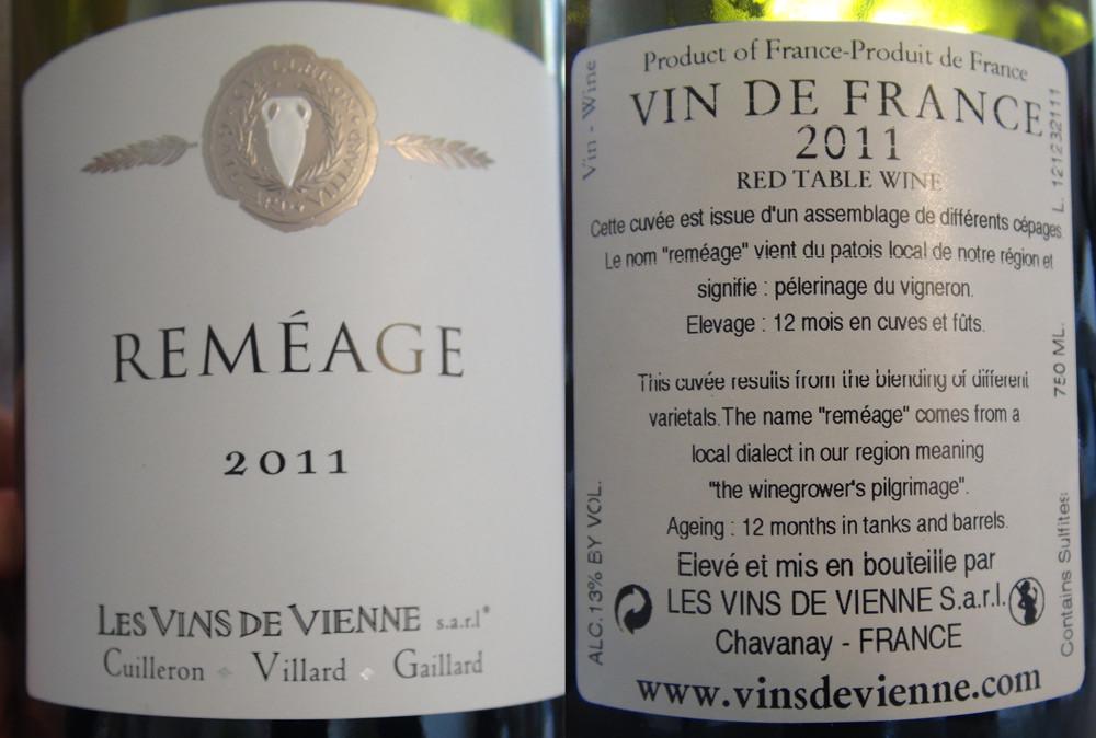 "Vin de France 2011 ""Reméage"" de Cuilleron-Villard-Gaillard"