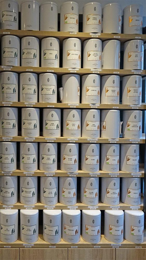 Quelques uns des thés proposés à la vente