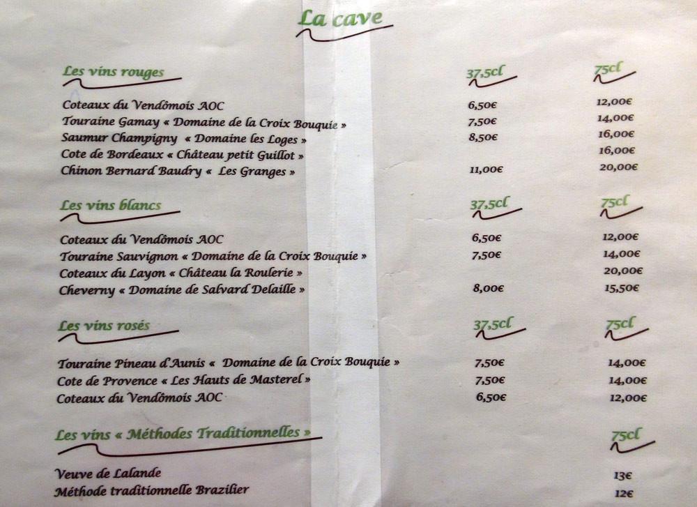 Carte des vins (ajouter 50 centimes d'euro pour tenir compte de l'augmentation de la TVA)