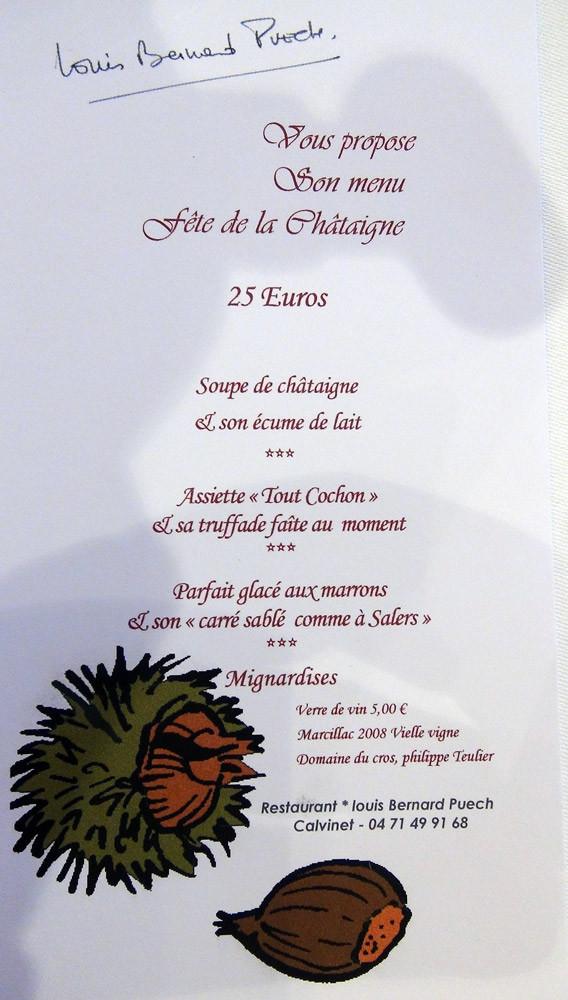 """Menu """"Fête de la châtaigne"""""""