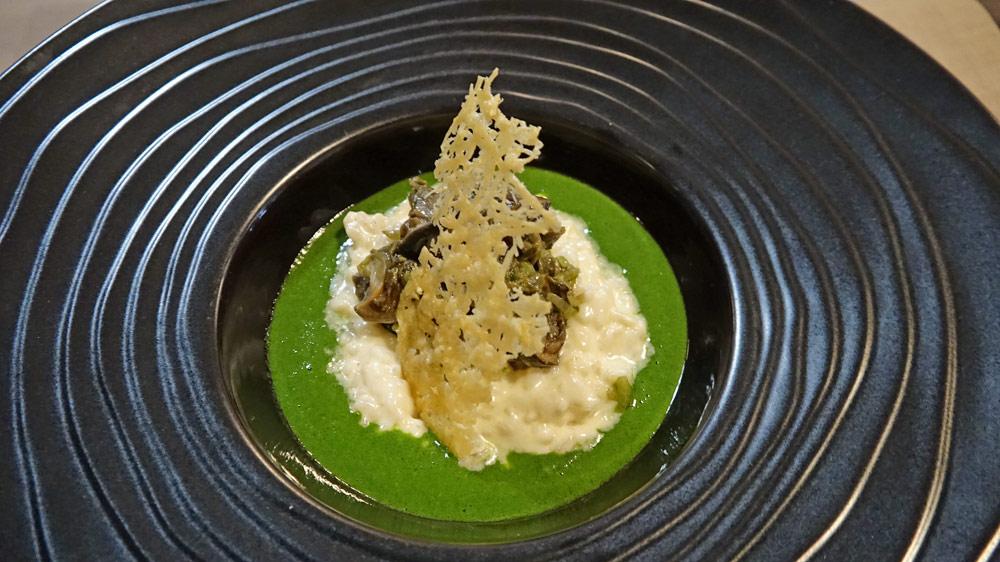 Escargots de Moulihèrne risotto Vialone, parmesan et persil