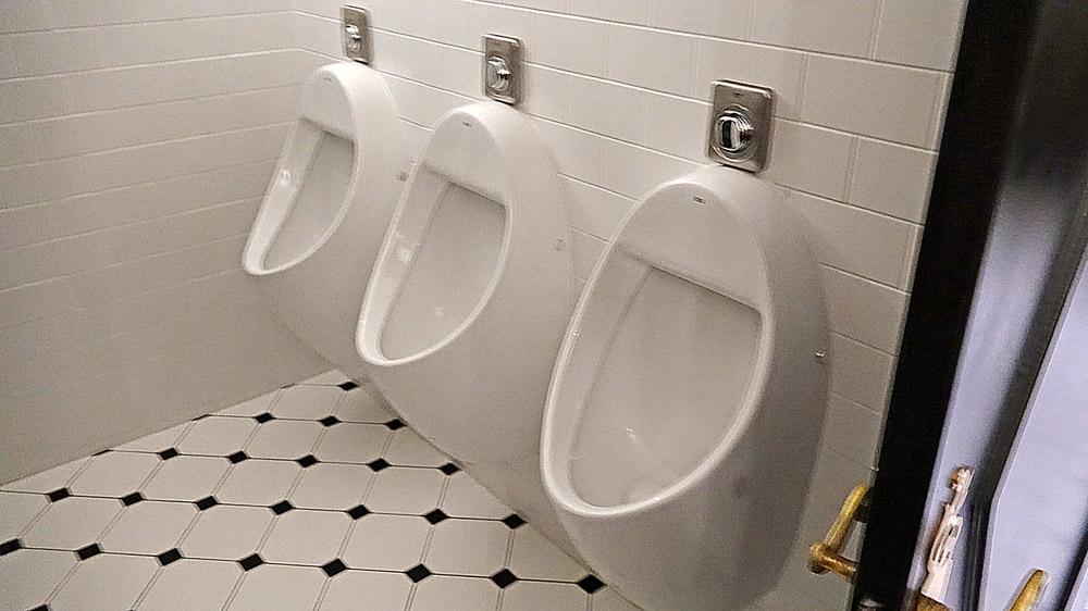 Et oui, 3 urinoirs et 2 wc pour hommes !