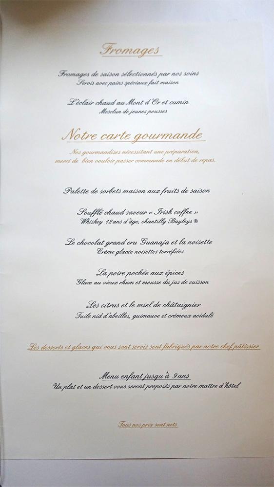 Exemple de menu proposé à La Roche Le Roy