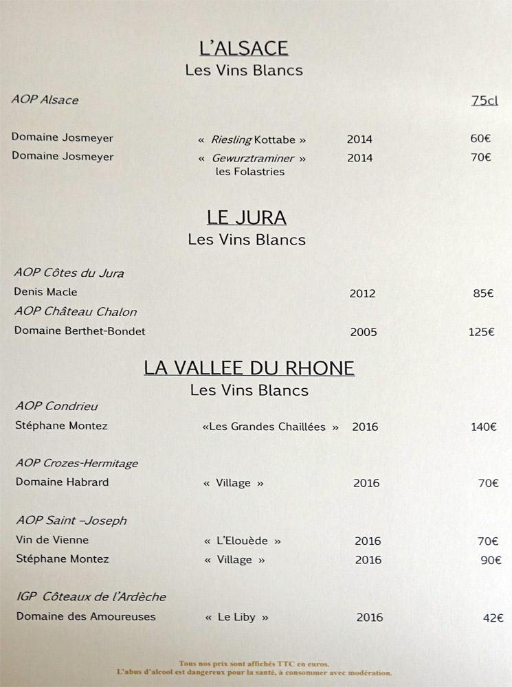 Vins blancs d'Alsace, du Jura et de la Vallée du Rhône