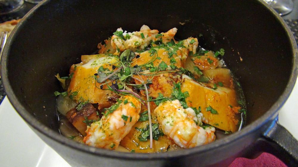 Cocotte de haddock et langoustines, légumes de pot-au-feu