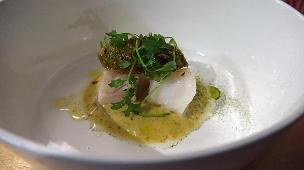 Lieu jaune, poudre de poissons de Loire (silure), condiment cresson