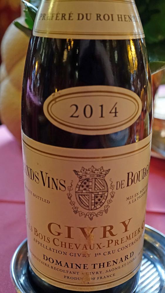 Le vin d'accompagnement : une demie Givry 2014