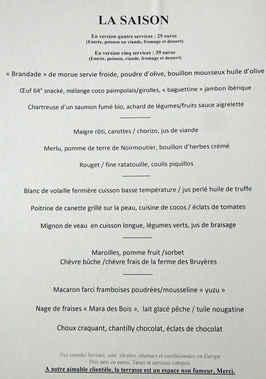 """Le menu """"La saison"""""""