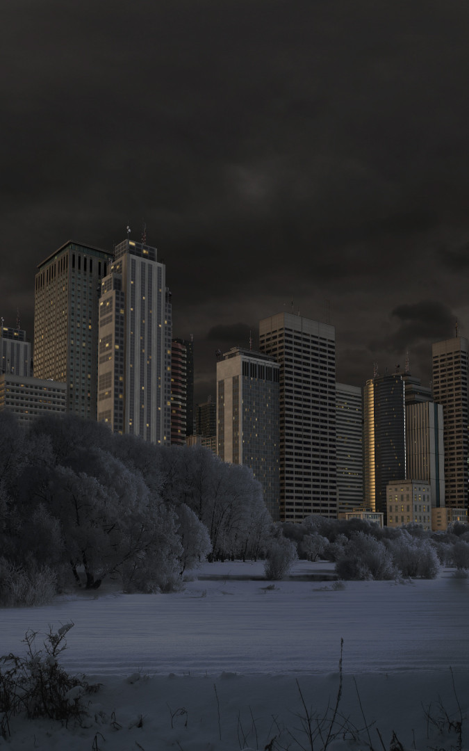 Blick aus dem CentralPark auf die NY-Skyline (Winter)
