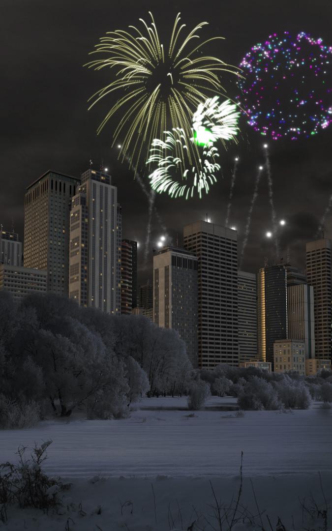 Silvesterfeuerwerk (animiert)