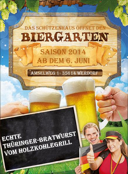 Werbeplakat zur Biergarteneröffnung