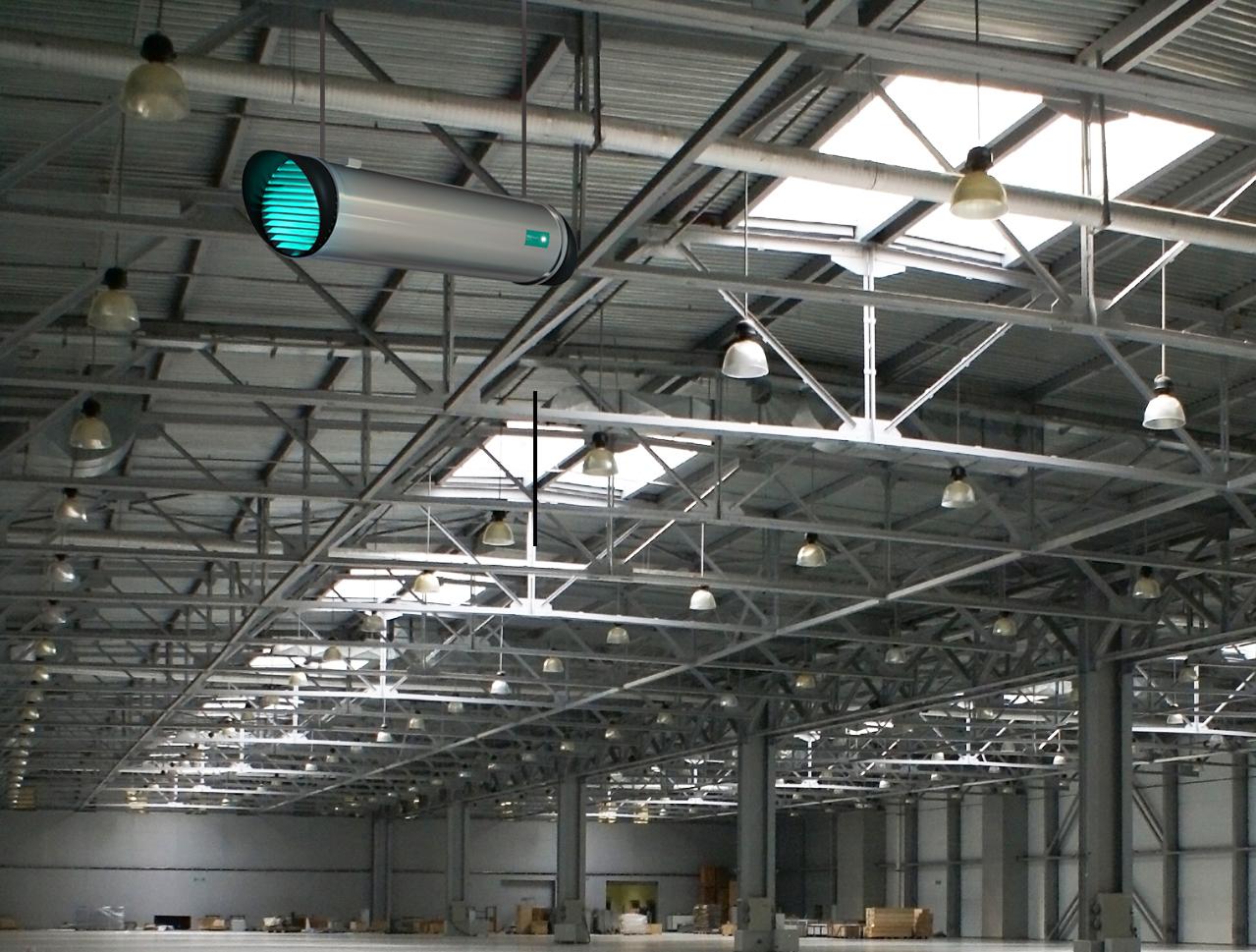 Die Montage des Cleaning Air T1000 erfolgt über zwei Stahlseile an der Decke des Raumes.