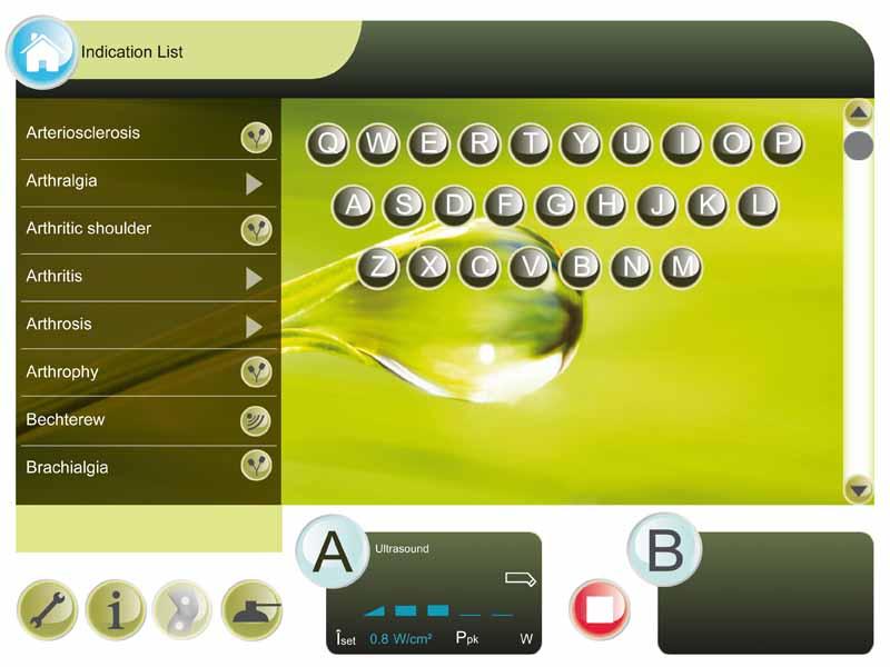 Integrierter Touchscreen zur bequemen Eingabe von Indikationen und Therapiezielen