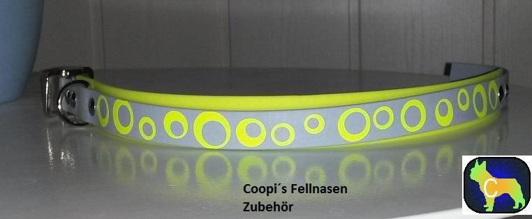 DR3 Biothane Halsband mit Druck Kreise gelb - Fabr Neongelb und grau - 25 mm breite verstellbar  39 cm - 45 cm Halsumfang  Preis: statt  € 24,00  nur € 18,00