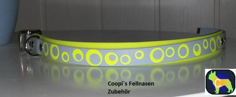 DR3 Biothane Halsband mit Druck Kreise gelb - Fabr Neongelb und grau - 25 mm breite verstellbar  39 cm - 45 cm Halsumfang  Preis: statt  € 24,00  nur € 14,40