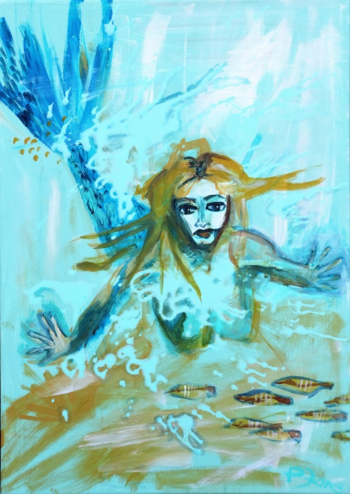 Under Water Love 2, 70 x 50, Acryl auf Leinwand