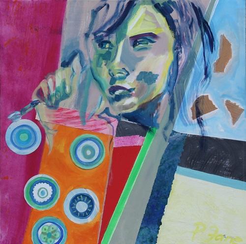 Paint, 80 x 80, Acryl und Papier auf Leinwand