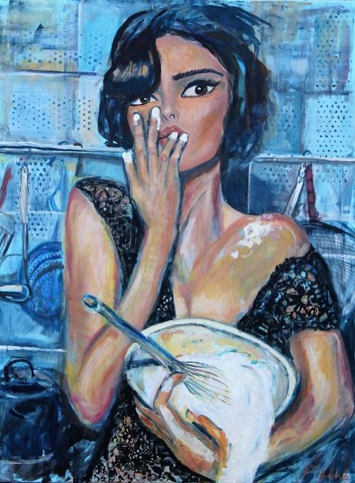 Delicious housewife, 120 x 90, Acryl auf Leinwand
