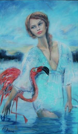 Pippi Flamingo, 170 x 100, Acryl und Öl auf Leinwand