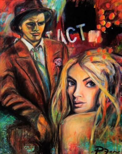 Rendevous, 100 x 80, Acryl und Sprayfarbe auf Leinwand