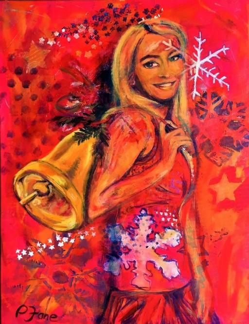 Jinglebella, 75 x 58, Acryl und Sprayfarbe auf Leinwand