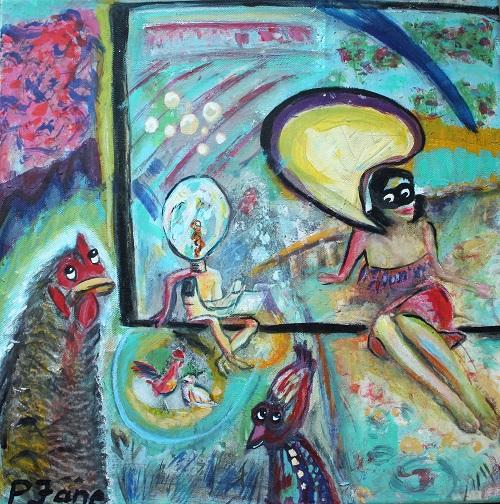 Landpartie, 40 x 40, Acryl auf Leinwand
