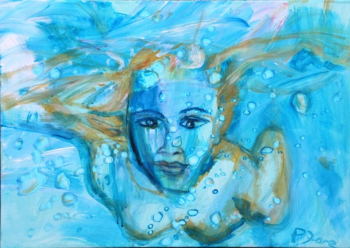 Under Water Love 1, 50 x 70, Acryl auf Leinwand