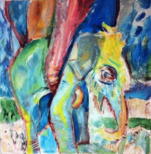 Elefantengeburt, 130 x 120, Acryl auf Leinwand