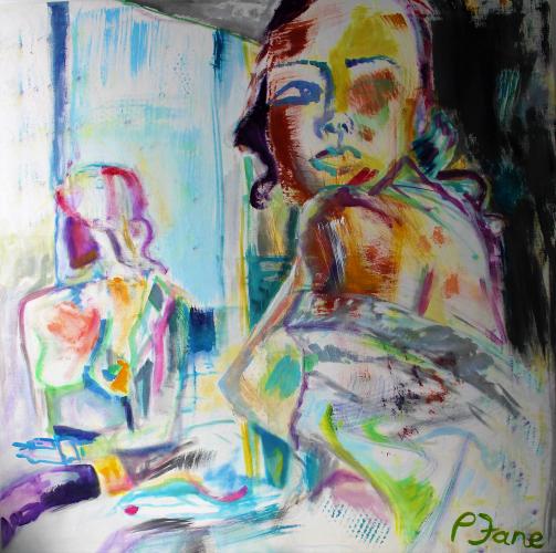 Schulterblick, 160 x 160, Acryl auf Leinwand