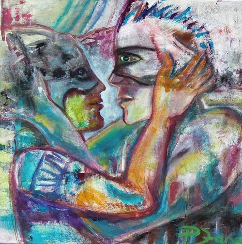 Maskerade, 80 x 80, Acryl auf Leinwand