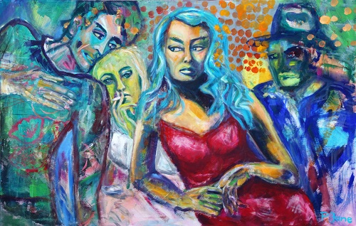 Blind date, 100 x 155, Acryl auf Leinwand