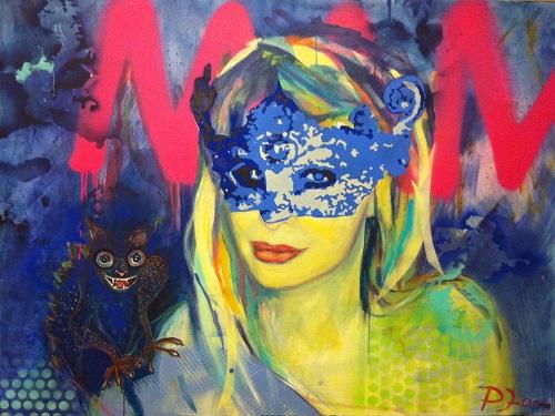 #nothing but the beat, 120 x 160, Acryl und Sprayfarbe auf Leinwand