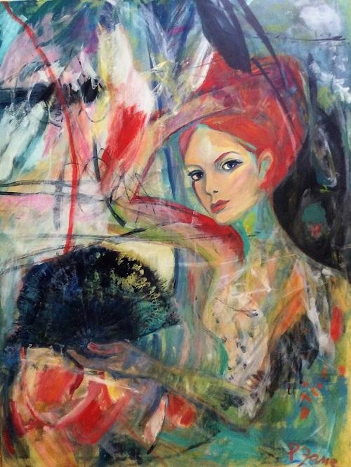 Girl on the train, 145 x 110, Acryl auf Leinwand