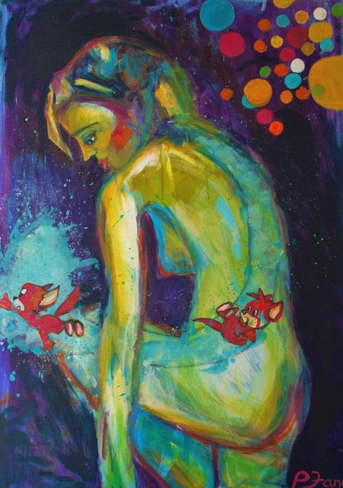 Die Träumerin, 100 x 70, Acryl auf Leinwand