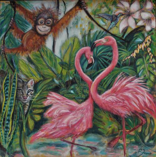 Flamingos in love, 160 x 160, Acryl, Pigmente und Binder auf Leinwand