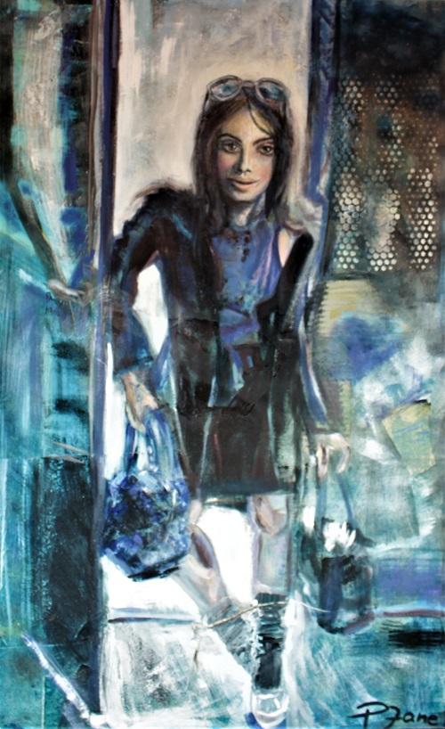 Shopping Queen, 145 x 90, Acryl, Sand, Papier auf Leinwand
