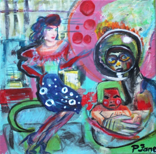 Welcome to Mars, 30 x 30, Acryl auf Leinwand