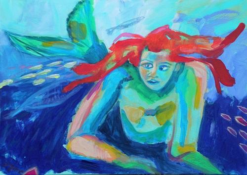 Pippi als Nixe, 50 x 70, Acryl auf Leinwand