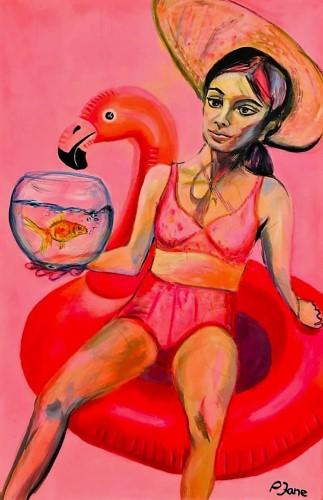 Good bye Eva - bereit für den großen Teich, 150 x 100, Acryl auf Leinwand