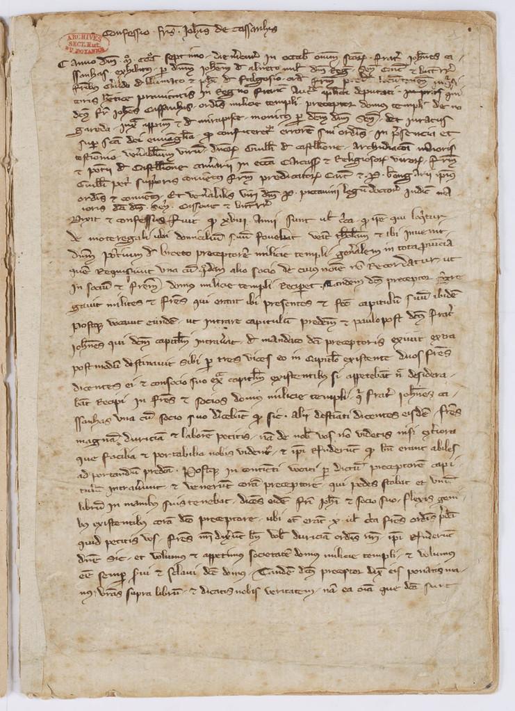 Cahier du procès-verbal des interrogatoires des Templiers de Carcassonne. page 1